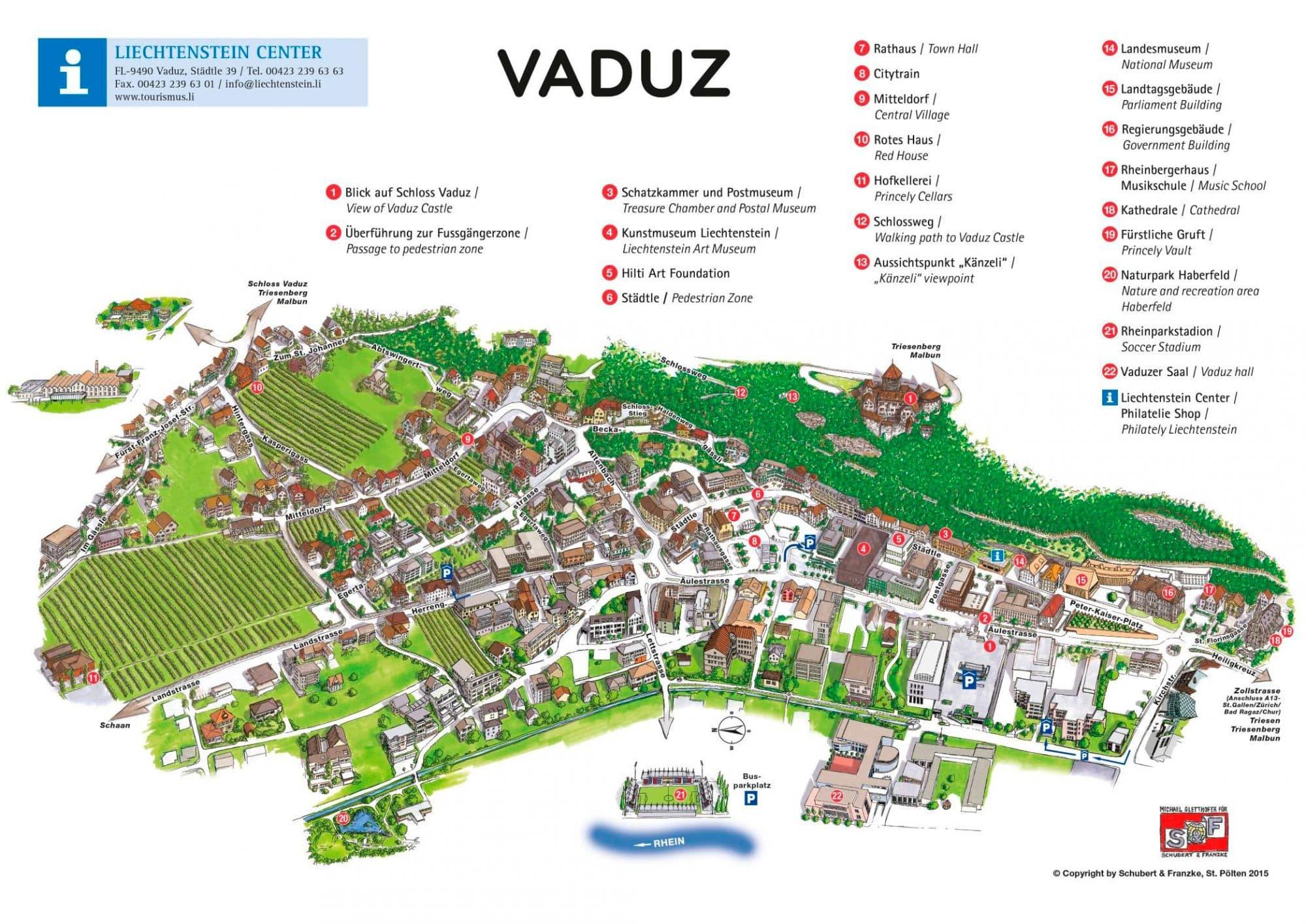 Лихтенштейн достопримечательности на карте